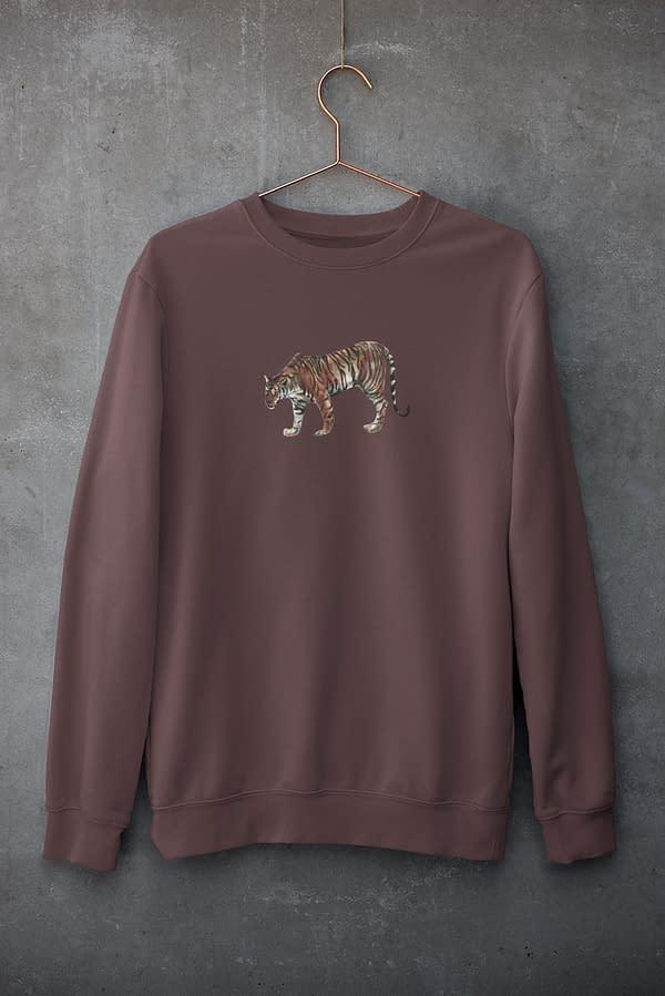 Burgundy Limited Edition Tiger Sweatshirt   Pigments by Liv