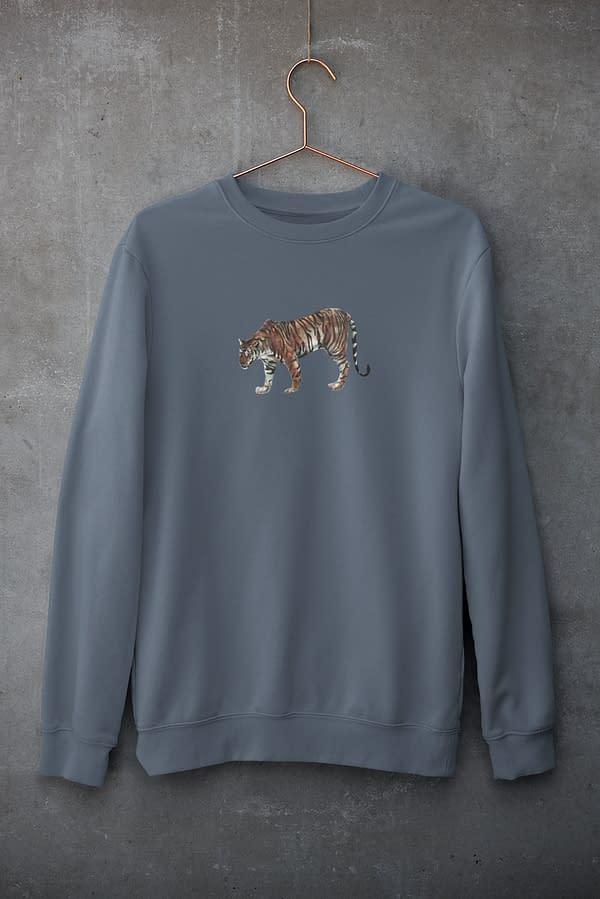 Dark Heather Blue Limited Edition Tiger Sweatshirt   Pigments by Liv