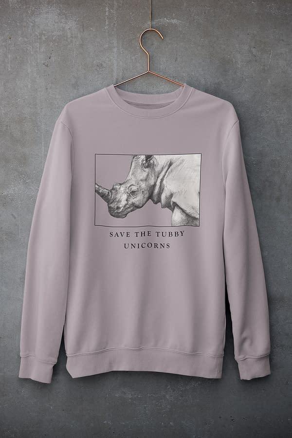 Lilac Petal Save the tubby unicorns rhino sweatshirt | Pigments by Liv