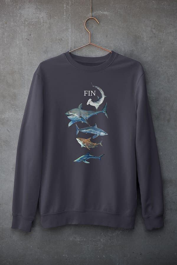 French Navy Shark Sweatshirt   Pigments by Liv
