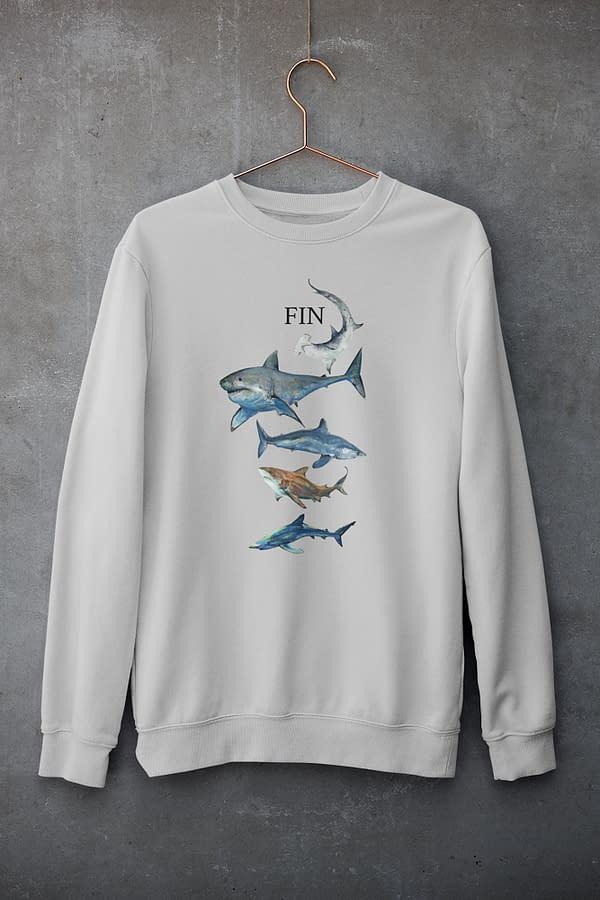 Heather grey Shark Sweatshirt   Pigments by Liv