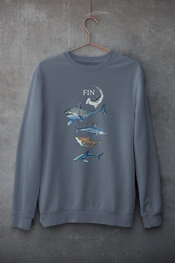 Dark Heather Blue Shark Sweatshirt   Pigments by Liv