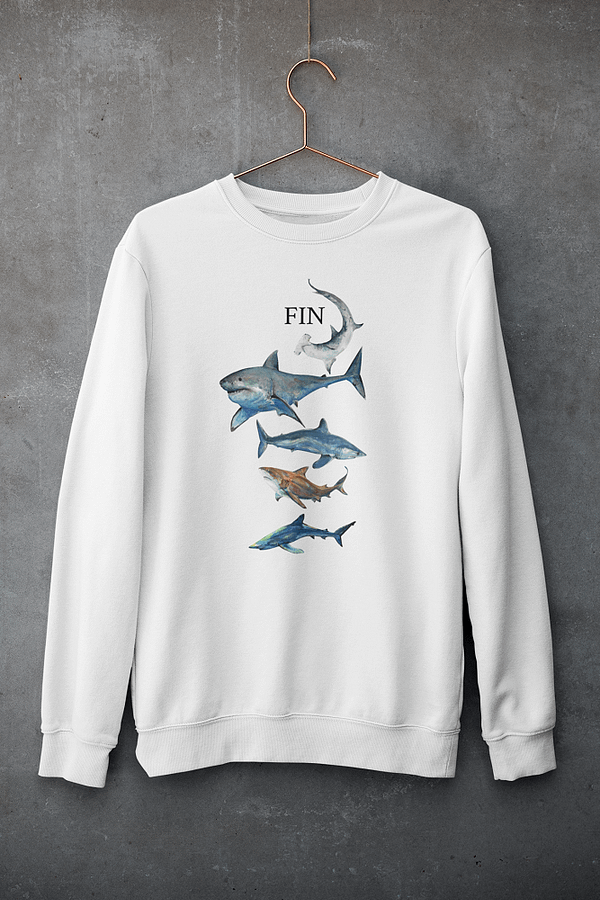 White Shark Sweatshirt   Pigments by Liv
