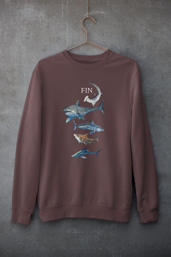 Burgundy Shark Sweatshirt   Pigments by Liv