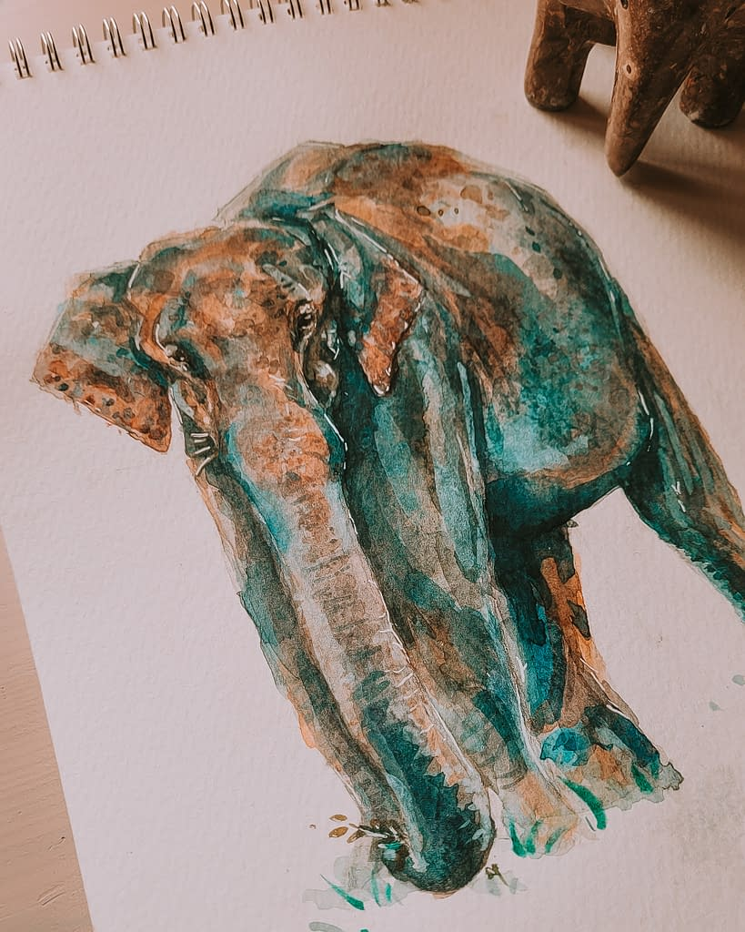 Asian Elephant Art Print | Pigments by Liv