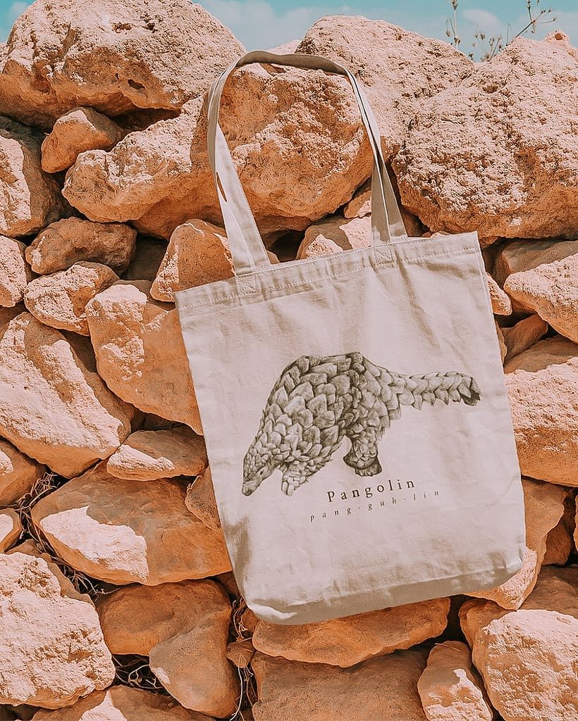 Pangolin Recycled Tote Bag   Pigments by Liv