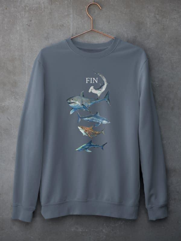 Dark Heather Blue Shark Sweatshirt | Pigments by Liv